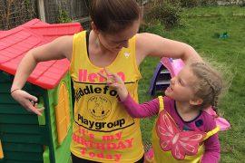 Helen in her race vest, designed by Little Boo Designs