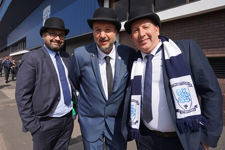 Preston North End fans outside the Hawthorns