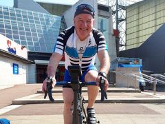 Stephen Knott on his stationary bike outside the PNE stadium