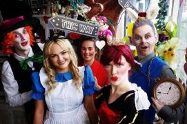 The cast of The Mad Hatters Tea Party