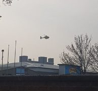 Air ambulance seen taking off shortly after 6pm on Sunday from the retail park Pic: Daniel Gregg/Blog Preston