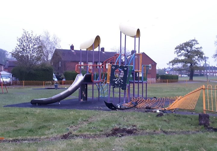 Tyre tracks could be seen at the park Pic: Jimmy Kay/Ashton and Riversway PACT