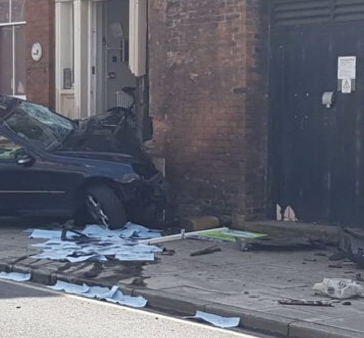 The car has been badly damaged in the crash Pic: justanumber
