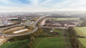 An aerial view of the current state of the Cuerden site near the M65 and M6 interchange