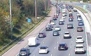 Tailbacks on the M6 at Red Scar just before Junction 32 Pic: Motorway Traffic Cameras