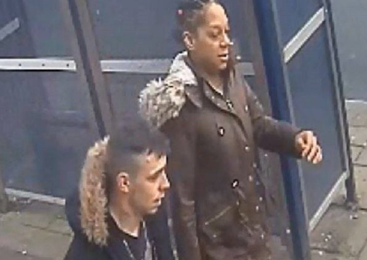 The man and woman pictured are wanted by police in connection with the attack
