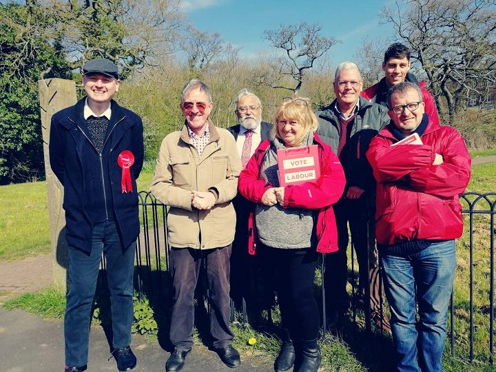 Matthew Brown, far left, with fellow Labour canvassers