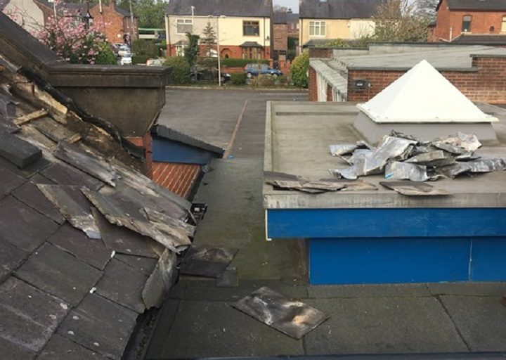 Some of the damage caused as tiles were stripped from the roof Pic: Kennington Primary School