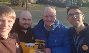 Neil Darby (far left) out canvassing with fellow Lib Dems
