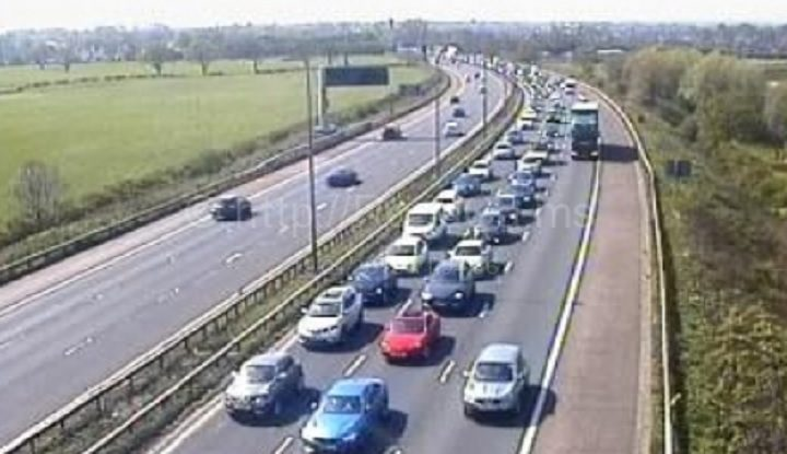 Traffic cameras show the M6 queues at Junction 29 Pic: Motorway Traffic Cameras