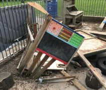 The remains of the wooden playhouse Pic: Janet Quinlan