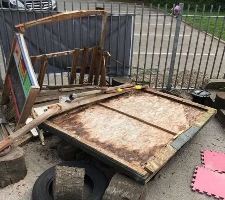 The nursery school returned after the Easter weekend to find the playground trashed