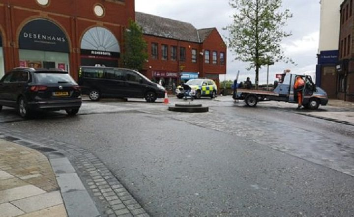 The recovery of the taxi from the bollard structure Pic: Rachael Fenwick