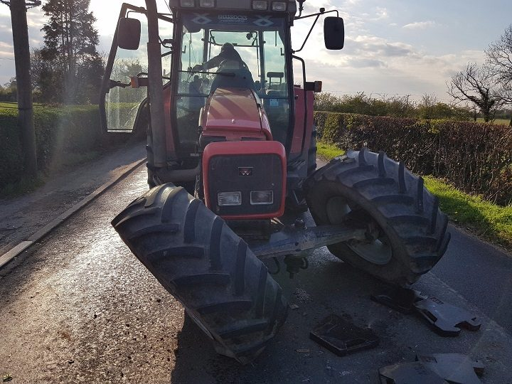 Damage to the tractor following the crash Pic: LancsRoadPolice