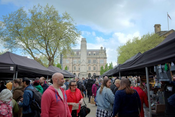 Checking out the stalls on the Flag Market Pic: Tony Worrall