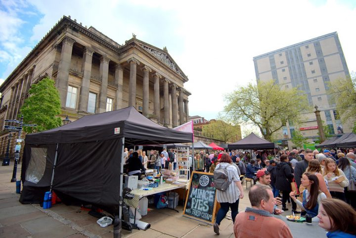 The Makers Market with the Harris behind Pic: Tony Worrall