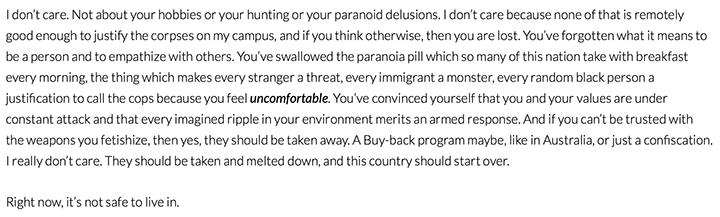An excerpt from A.J. Hartley's blog Surviving a School Shooting