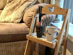Items like this wooden rustic wooden table will be available at the pop up shop