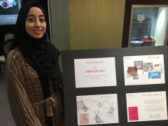 Tabassum with her designs