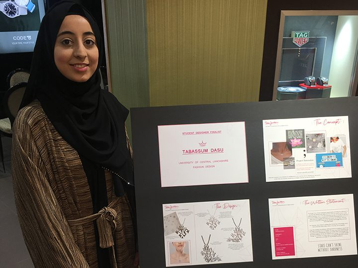 Tabassum with her designs