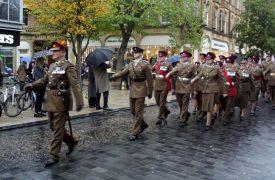 Army on parade in Preston city centre