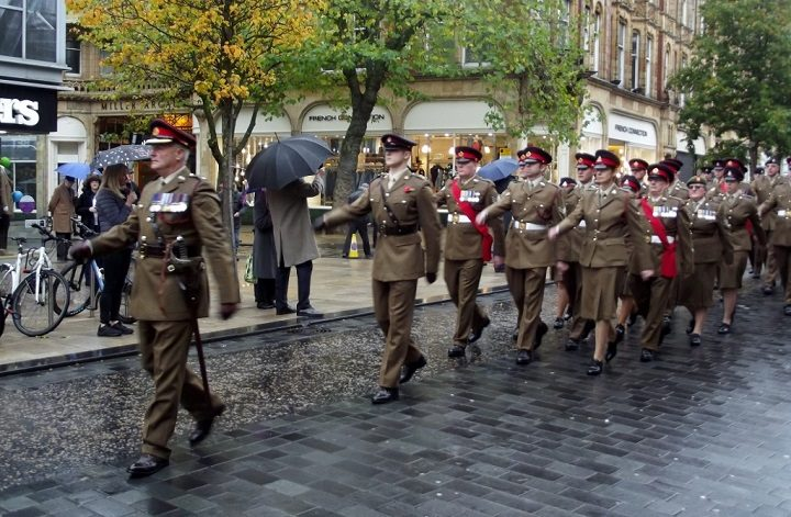 Army on parade in Preston city centre