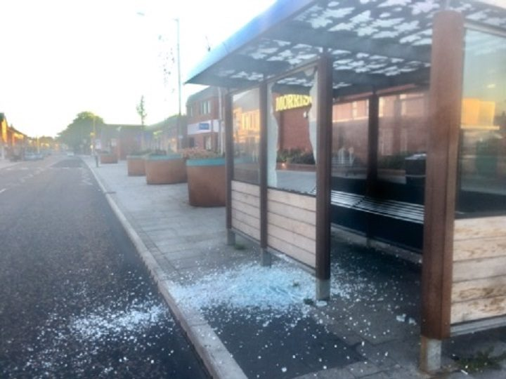 Damage to the bus shelters in Station Road Pic: Shane King