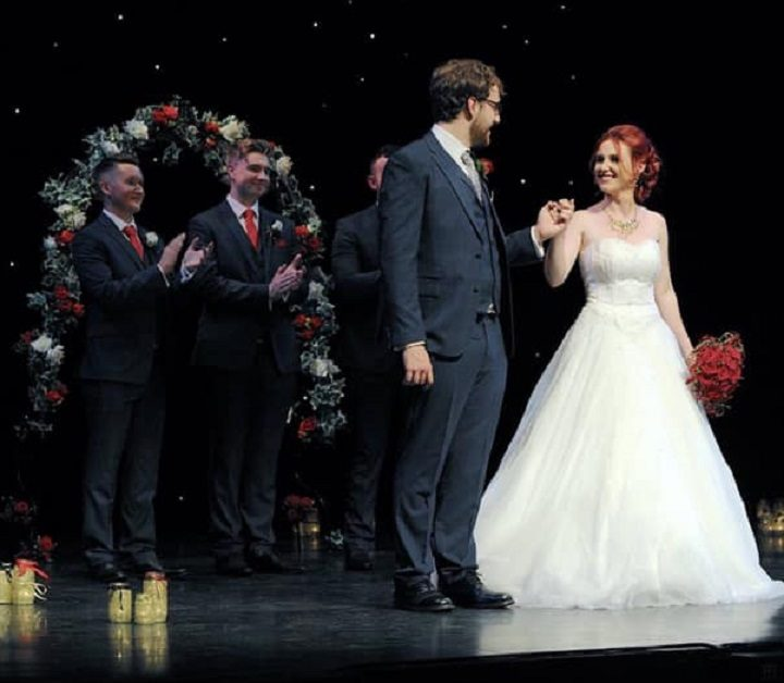 Carolyn got married on stage at the Guild Hall