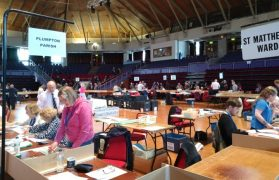 The view across the election count in Preston Guild Hall on Friday Pic: Blog Preston