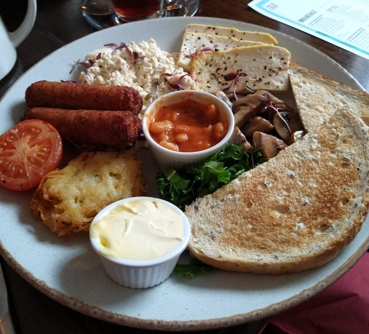 Full vegan breakfast at the Plungington, with copious amounts of tofu Pic: Blog Preston