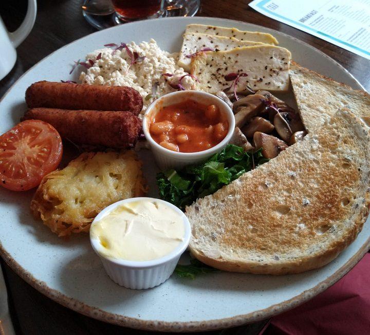 Full vegan breakfast at the Plungington, with copious amounts of tofu Pic: Blog Preston