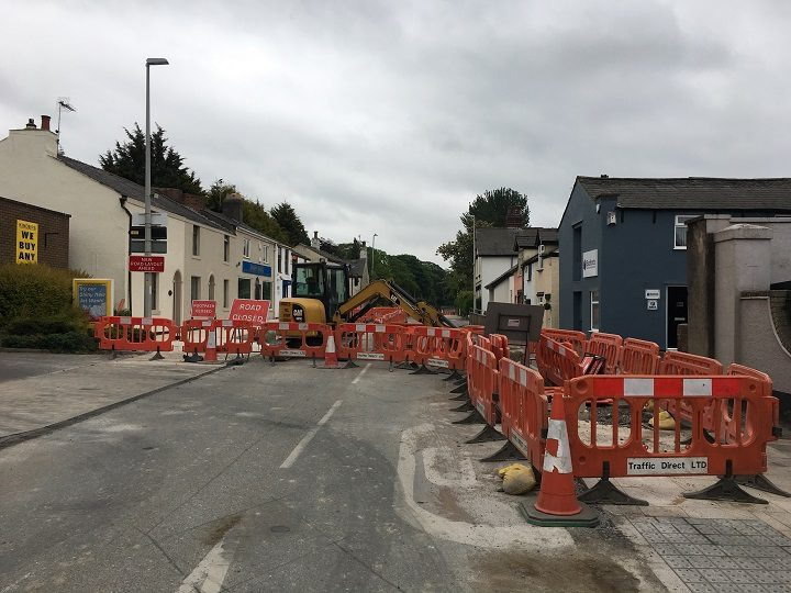 Ongoing roadworks in Broughton as part of the new look road scheme Pic: Blog Preston