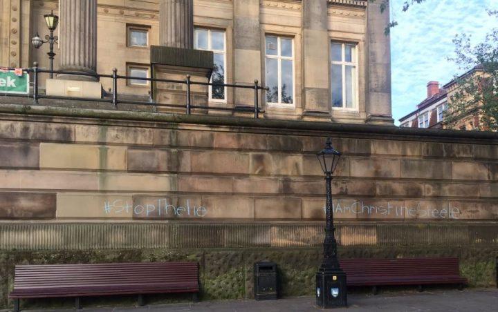 The chalk graffiti was written on the walls of the Harris facing the Flag Market Pic: PrestonPolitico