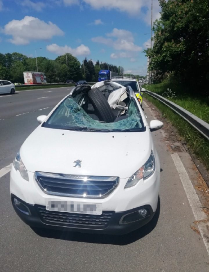 View of the damaged car Pic: LancsRoadPolice