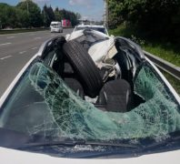 What was left of the car windscreen and roof Pic: LancsRoadPolice