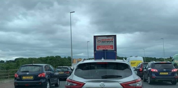 Queues near the Tickled Trout on Friday on the M6 Pic: Joanne Claire