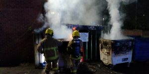 Crews hosing down the bins Pic: Preston Fire Station