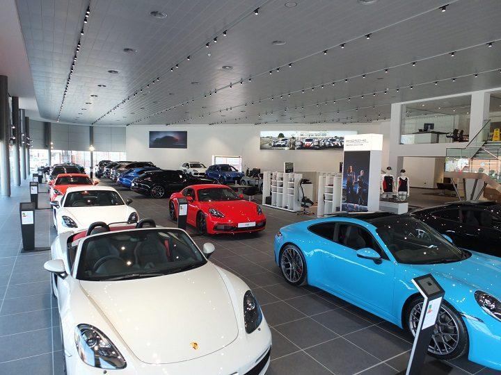 Inside the Porsche showroom