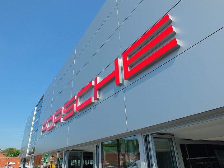 The exterior of the new Porsche showroom