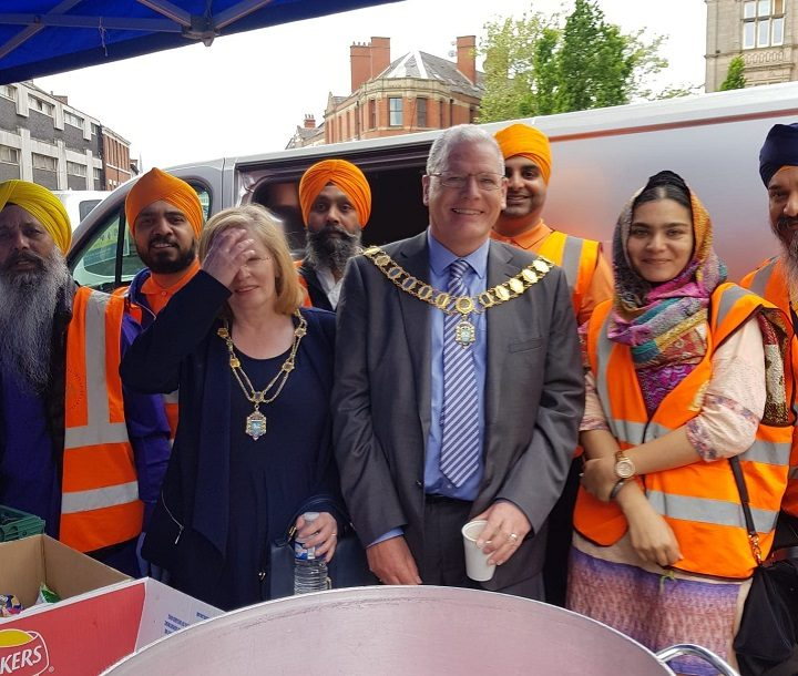 Mayor of Preston David Borrow with the city's Sikh community Pic: Preston Sikh Society