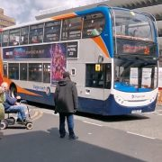 The unknown man squares off with the 2A Stagecoach service Pic: Blog Preston/Christopher Bradley