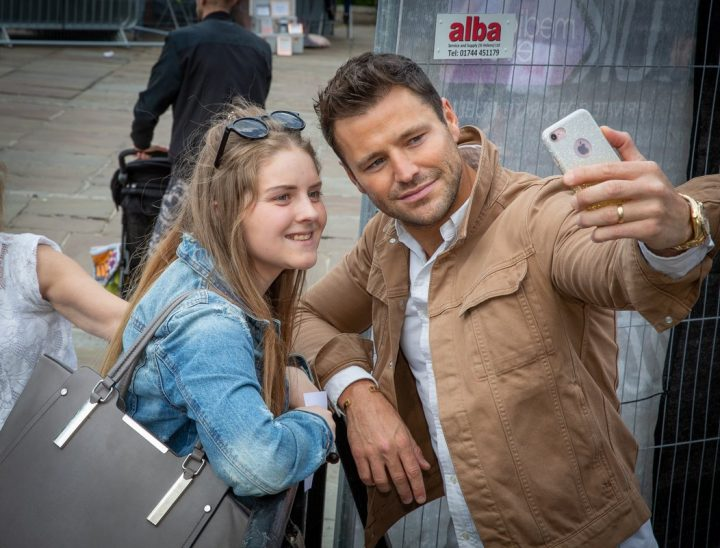 Mark Wright poses with a fan for a selfie Pic: Michael Porter