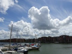 Sunshine and fluffy clouds on Preston Docks Pic: Tony Worrall