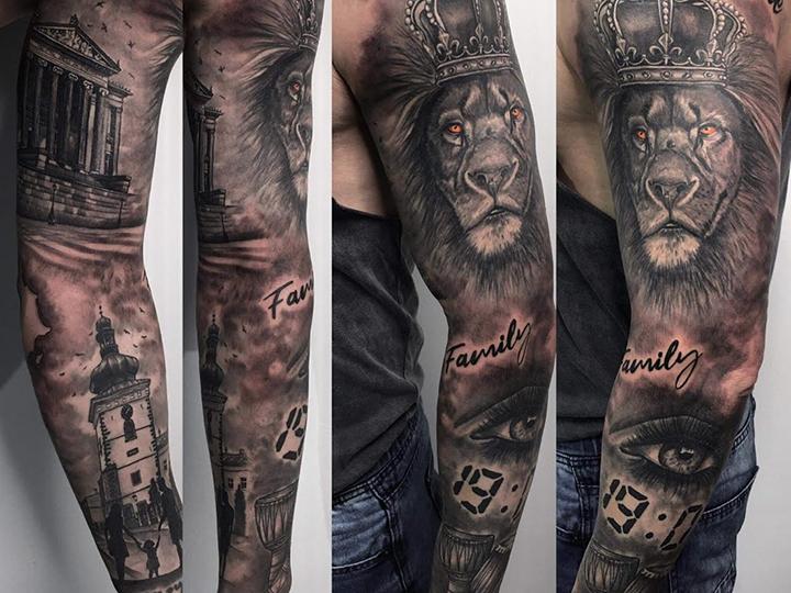 The Harris appears above Farna Tower on Bartosz's arm