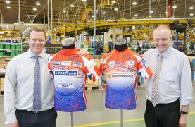 Matt Kersey, Helping Hand Chairman and Stuart Derbyshire, Cycle Ride Organiser, with the sponsored cycle shirts