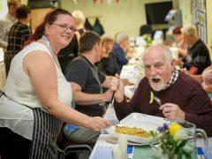 Centre co-ordinator Angela Moss and Peter Gilliam enjoying the chippy tea