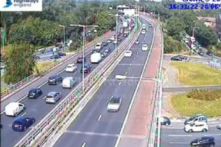 Heavy traffic on the Broughton roundabout on Friday 28 June Pic: Motorwaycameras
