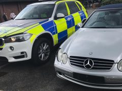 The Mercedes was found to be using false plates Pic: LancsRoadPolice