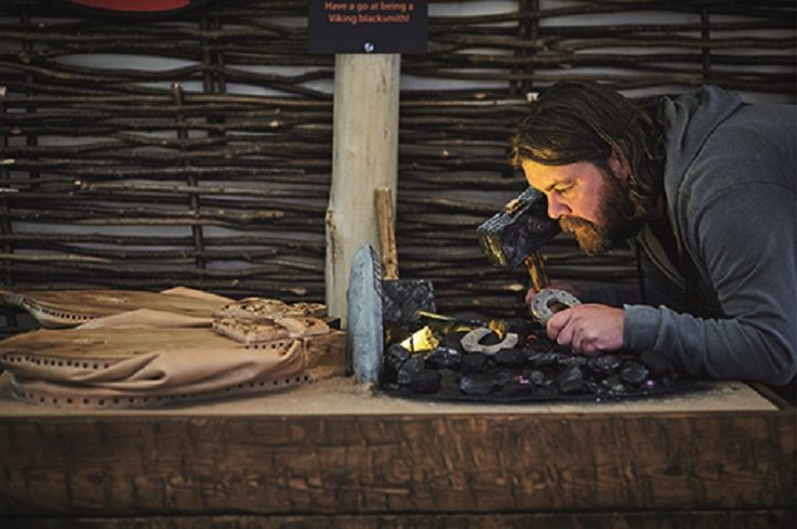 Inspecting some fine Viking art and hand-crafted pieces