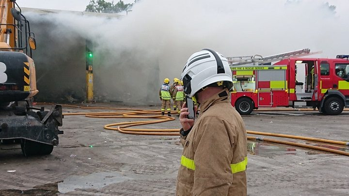 Firefighters on site at Red Scar Pic: Bamber Bridge/Chorley fire stations